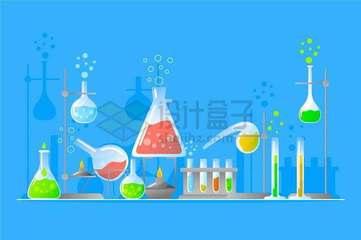 手绘锥形瓶烧瓶试管曲颈瓶等化学实验仪器png图片免抠矢量素材