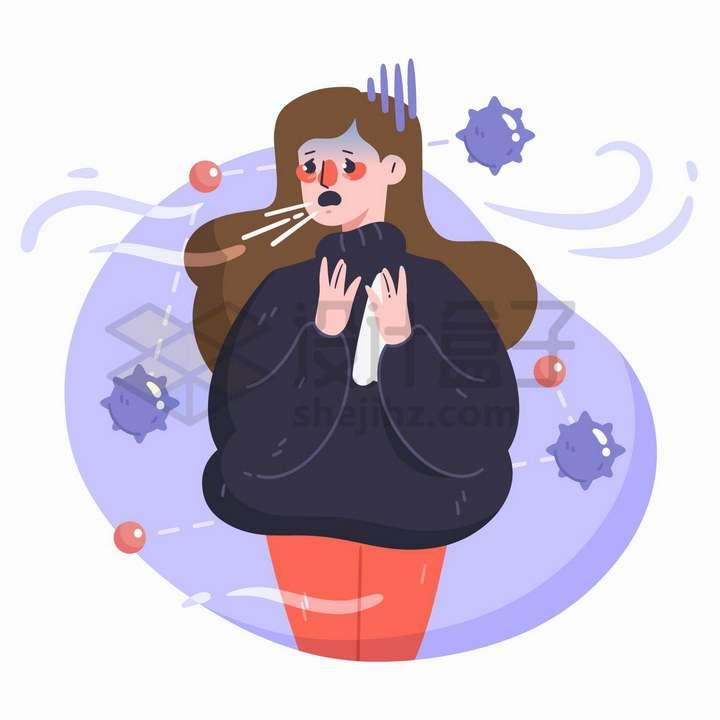 天气寒冷打喷嚏的女孩和新型冠状病毒png图片免抠矢量素材