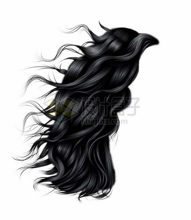 飘逸的女性长发卷发造型发型png免抠图片素材