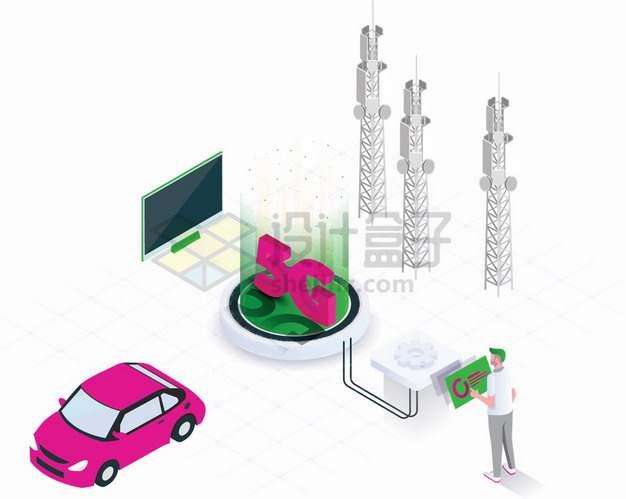 2.5D风格5G技术通信塔和各种应用png图片素材