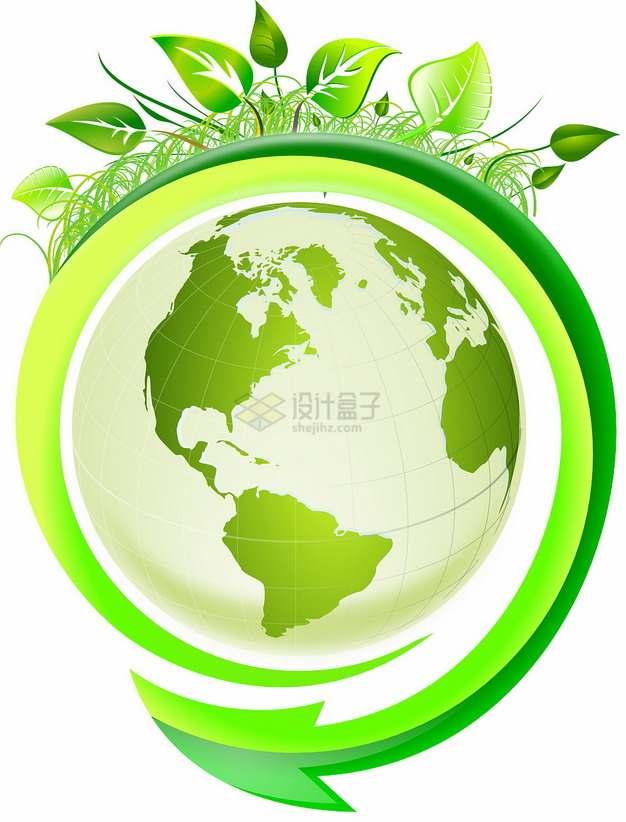 环绕地球的绿色箭头和树叶世界环境日png图片素材