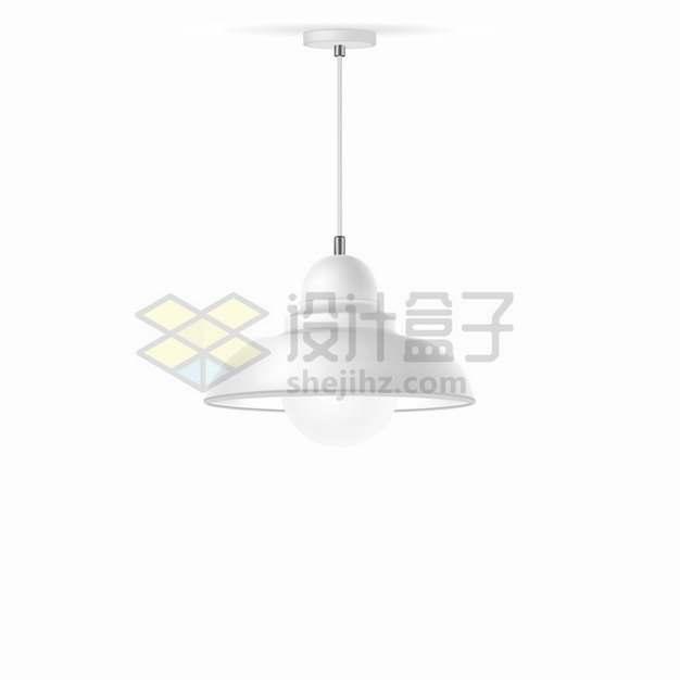 一盏白色吊灯电灯png图片素材