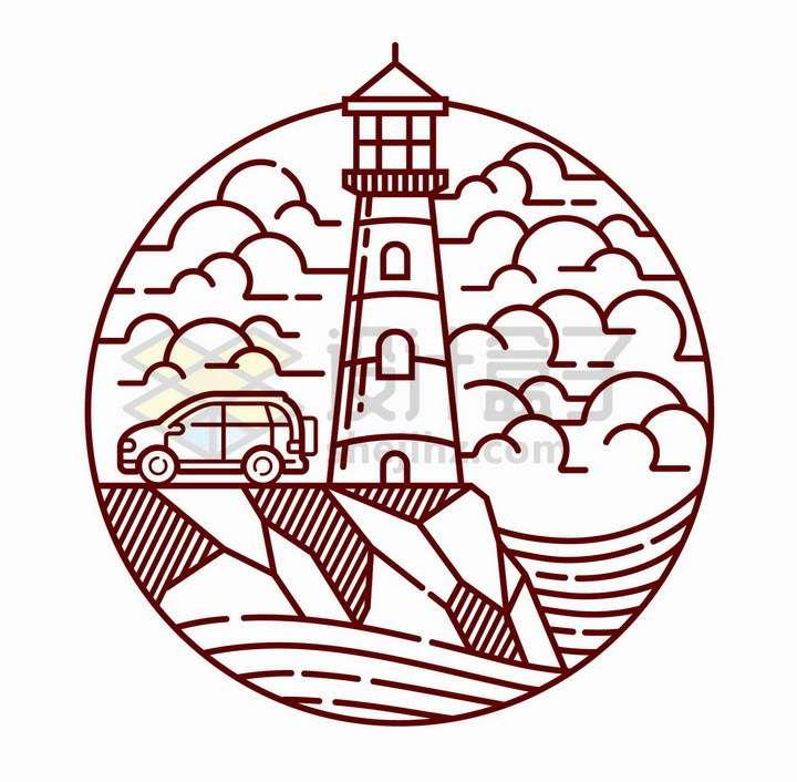 线条海边的灯塔和小汽车风景图png图片免抠矢量素材