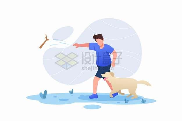 和狗狗玩扔树枝游戏的男人扁平插画png图片素材
