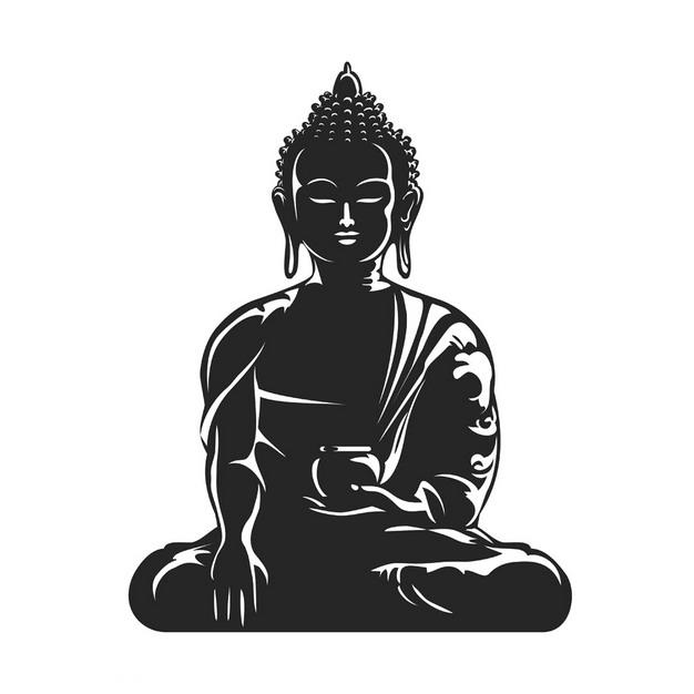 白色线条的佛教释迦摩尼佛祖画像png图片素材 人物素材-第1张