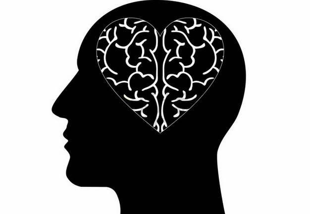 人体头部剪影和心形大脑图案png图片素材