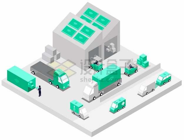 2.5D风格5G技术智能仓库和物流快递车辆png图片素材