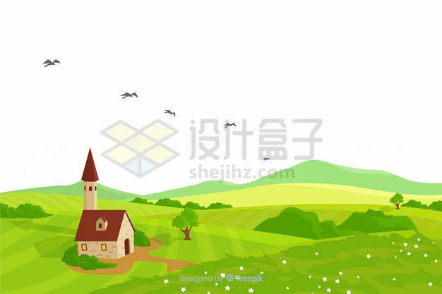 绿色的大地田野原野草原农村乡村风景插画png图片素材