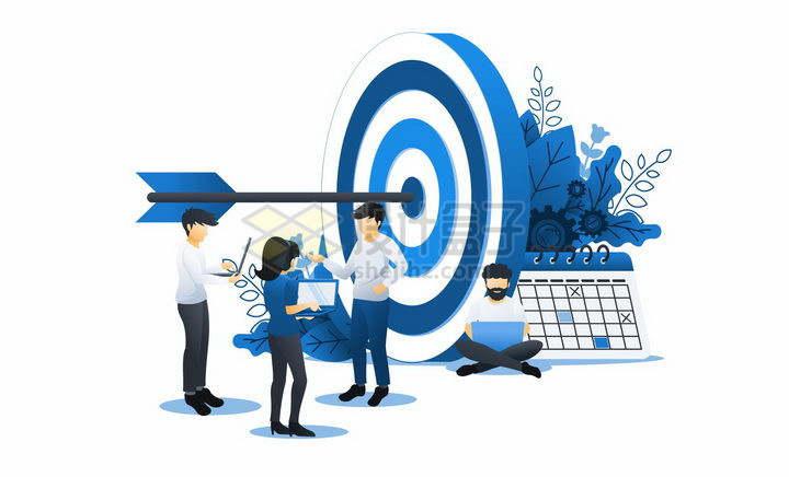 蓝色扁平插画风格正在讨论目标靶子的商务人士png图片免抠矢量素材