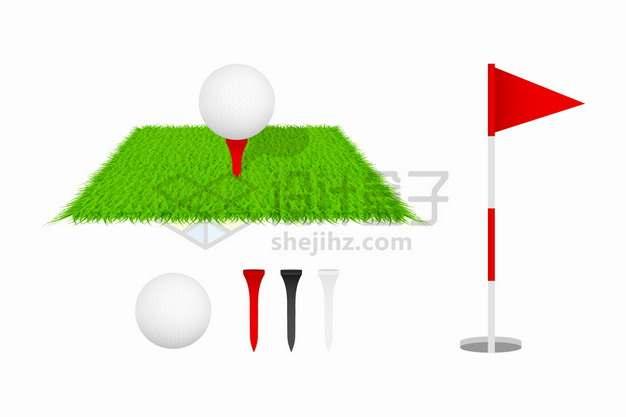 草坪上的高尔夫球座和旗杆等体育运动设施配件png图片素材