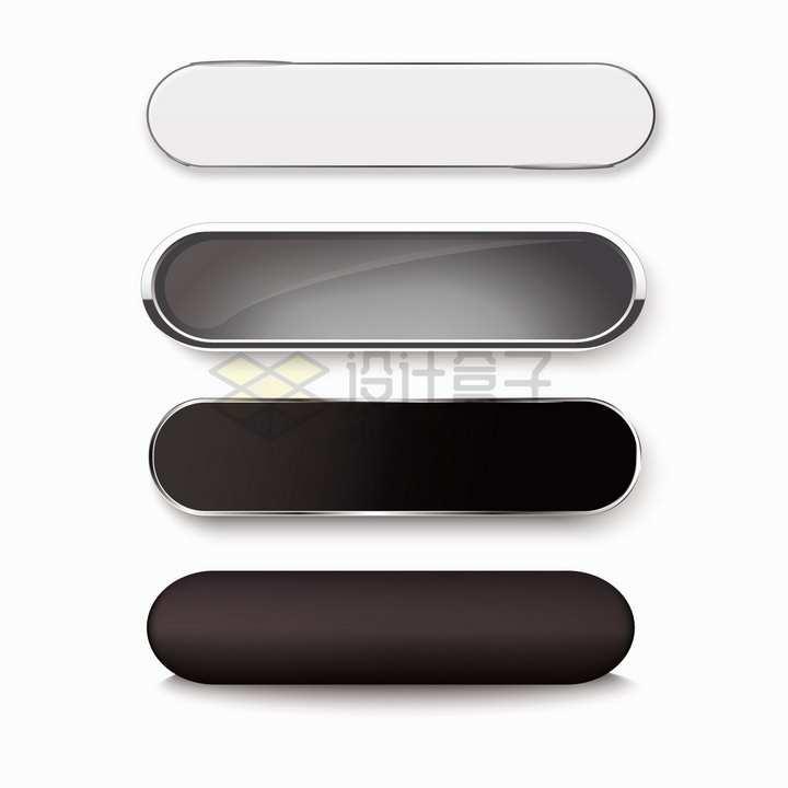 金属边框的灰色黑色圆角按钮png图片素材