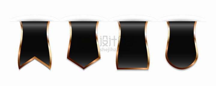 4款金色描边细腰形状的黑色收藏标签png图片免抠矢量素材