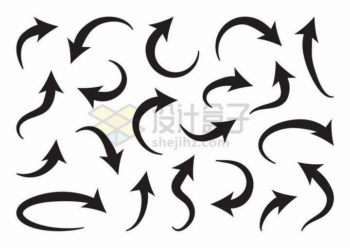 各种弯曲的黑色箭头符号png图片免抠矢量素材
