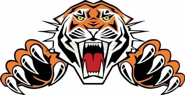 愤怒的老虎头和虎爪猛兽彩绘插画png图片素材
