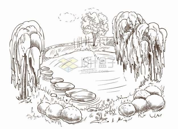 池塘和垂柳树风景手绘线条素描插画png图片素材