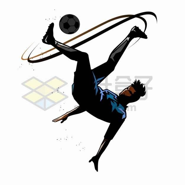 倒勾球踢足球运动员抽象体育运动插画png图片素材