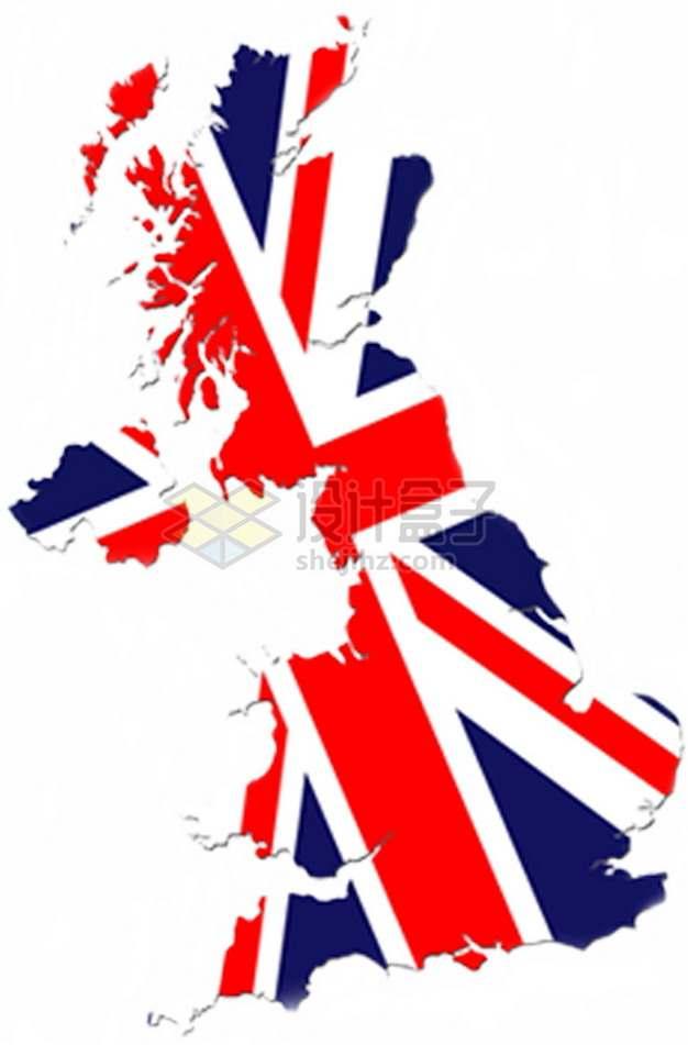 印有米字旗国旗图案的英国地图png图片素材