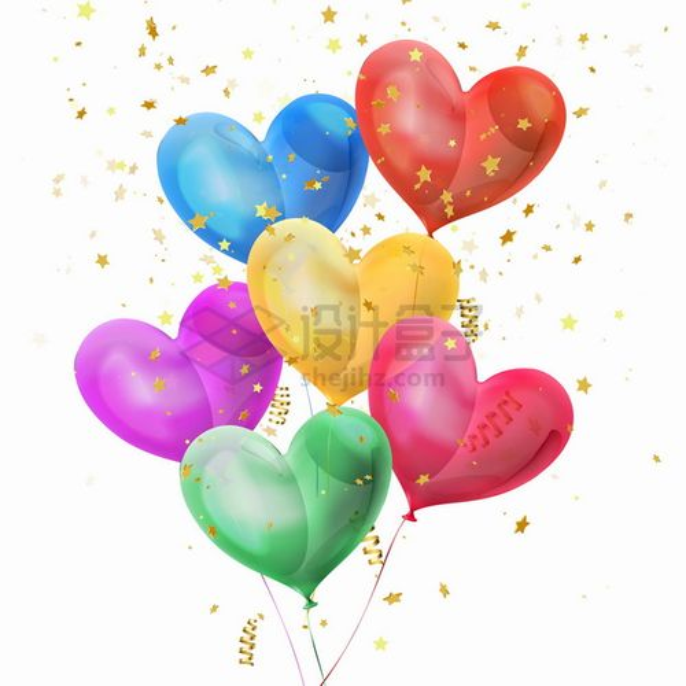 飘着金黄色五角星装饰的彩色心形气球719472png图片素材