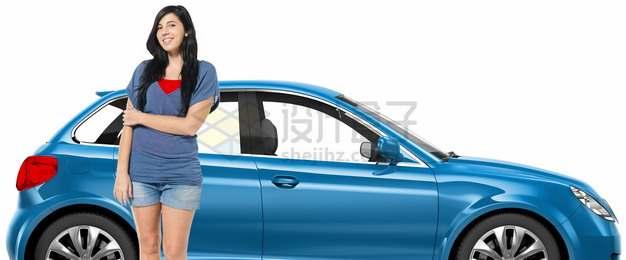 购买汽车后和自己汽车合影的美女76421983png图片素材