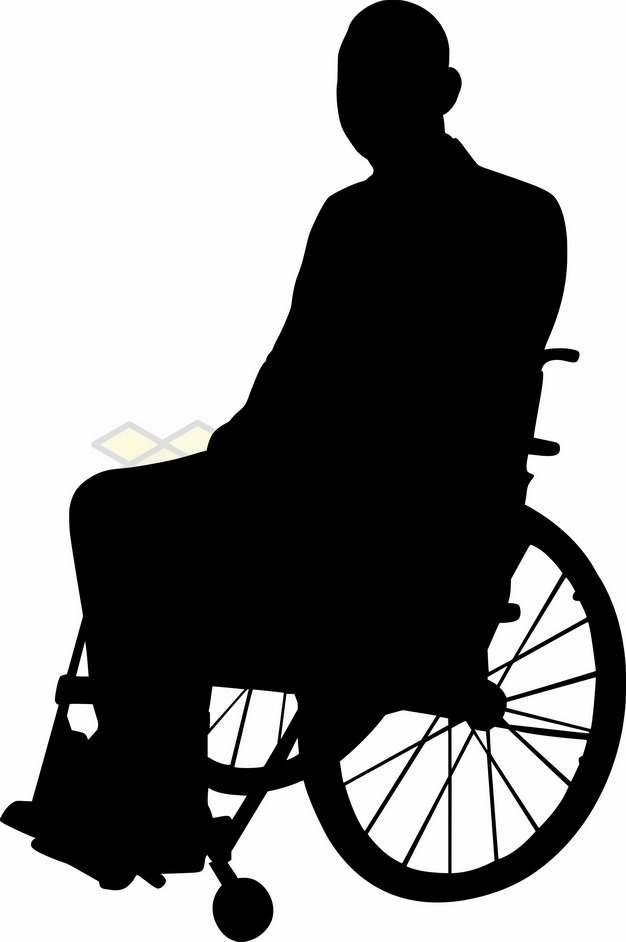 坐轮椅的残疾人剪影png图片素材78879834
