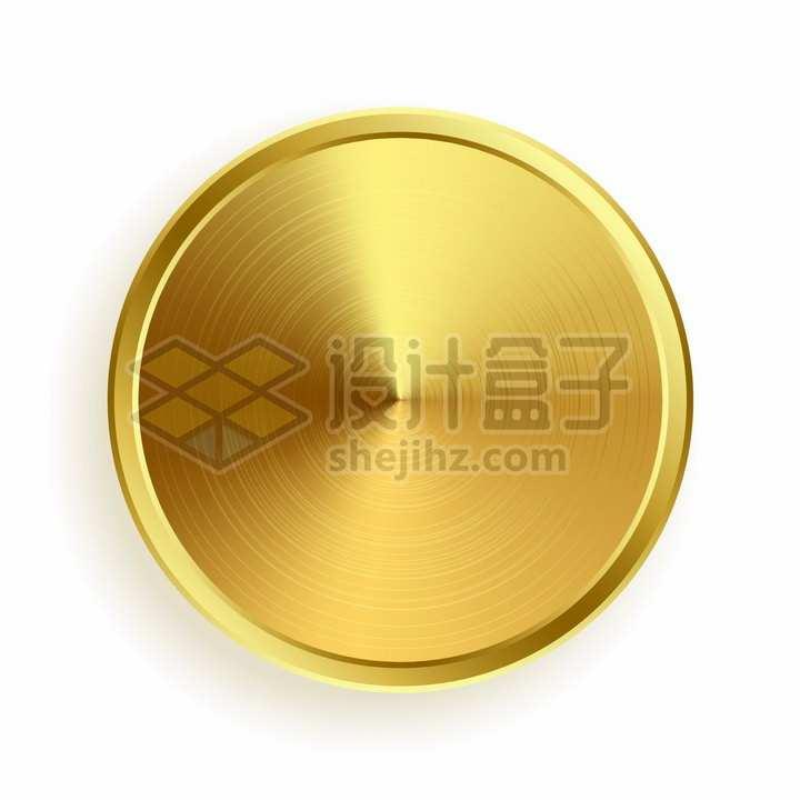 金色金属光泽拉丝纹理圆形按钮png图片素材