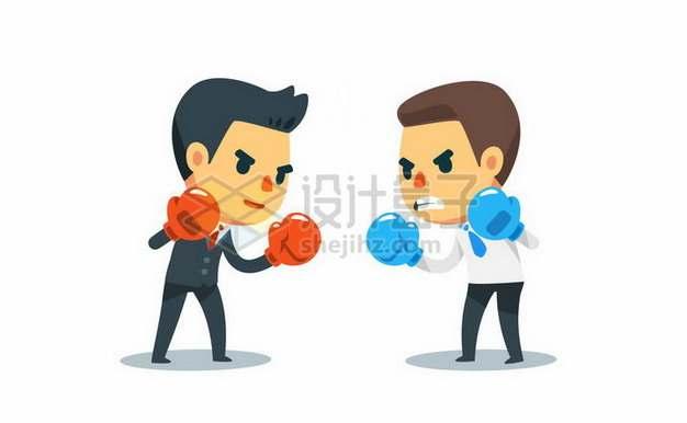 两个卡通商务人士戴着拳击手套职场不团结勾心斗角png图片素材