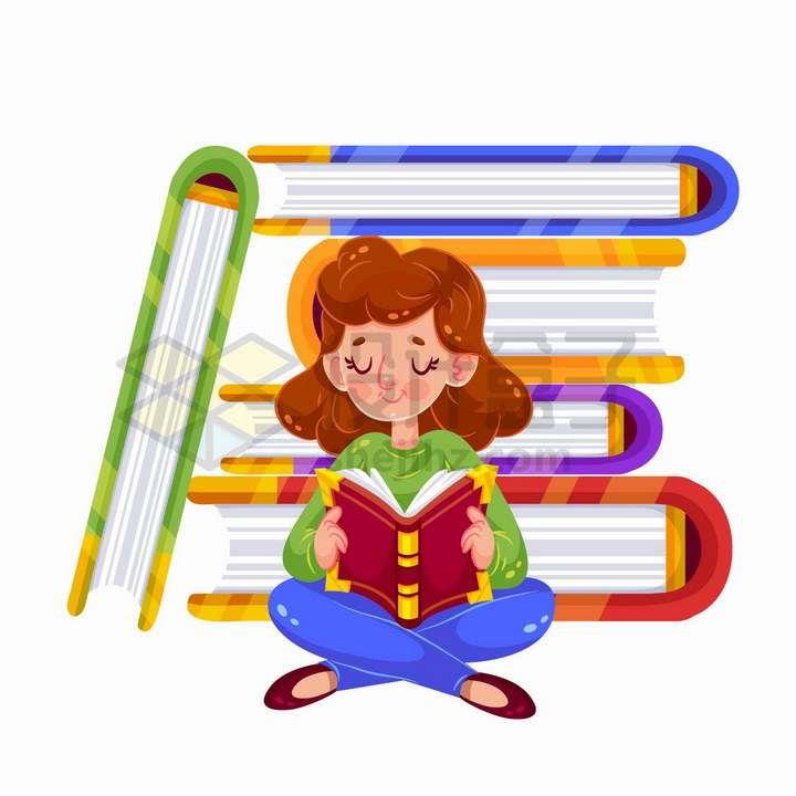 世界读书日卡通女孩背靠着书堆正在看书png图片免抠矢量素材