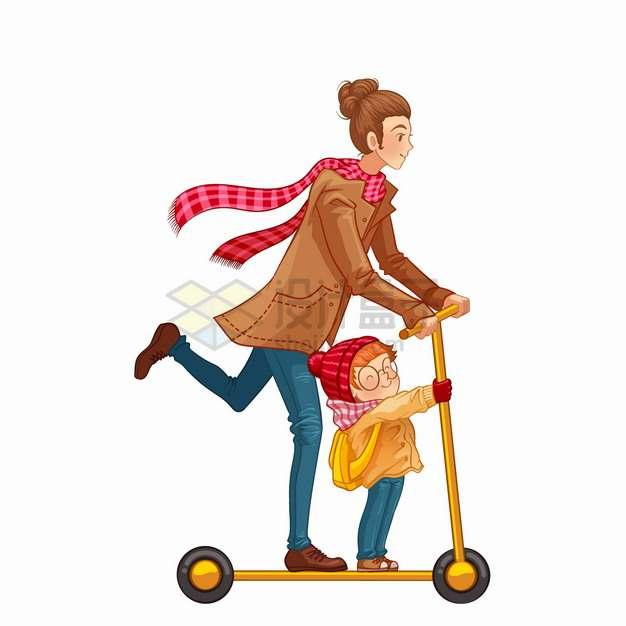 妈妈带着女儿玩滑板车亲子关系母亲节卡通插画png图片素材