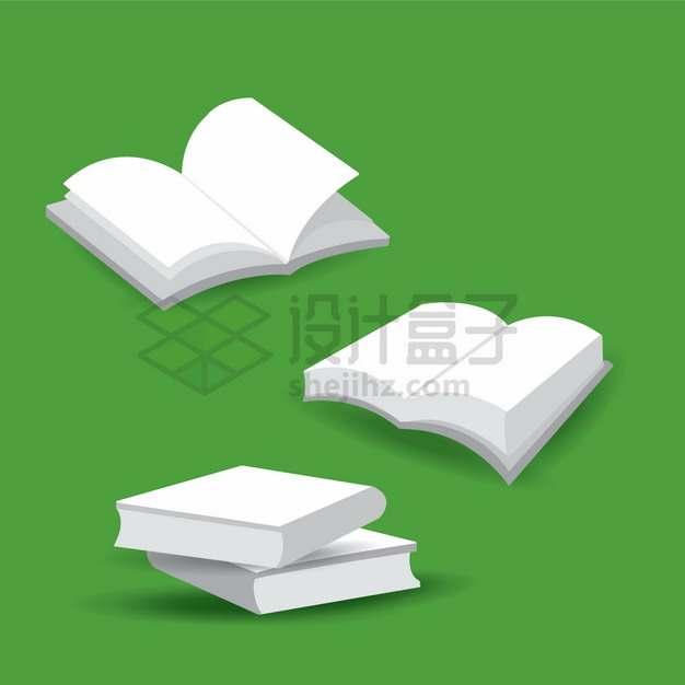 3款白色的书籍打开的书本png图片素材