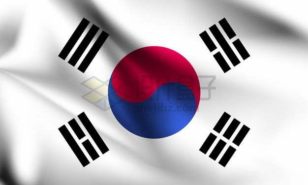 飘扬的韩国国旗太极旗png图片素材