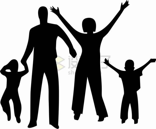 兴奋得高举双手的一家四口人物剪影国际家庭日png图片素材