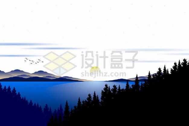 远处的落日或日出高山湖泊和森林深蓝色剪影插画png图片素材