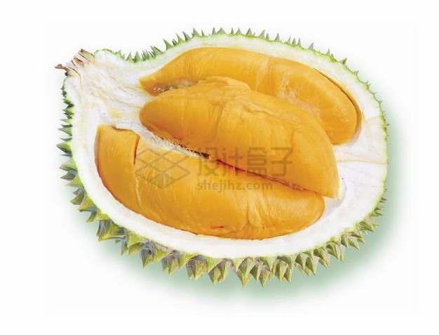 切开一半的泰国甲仑榴莲露出黄色果肉png图片素材