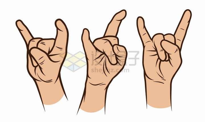 3款彩绘风格金属礼手势png图片免抠矢量素材