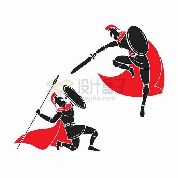 正在战斗的身披红色披风的古罗马战士png图片免抠矢量素材 人物素材-第1张