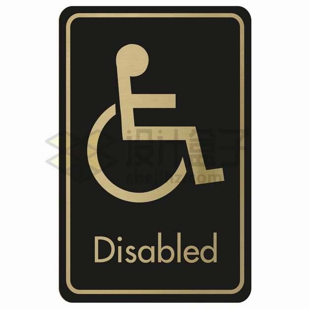 黑底金色残疾人标志符号贴纸png图片素材43232551