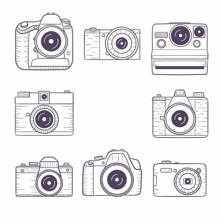 8款线条风格数码单反照相机拍立得等png图片免抠矢量素材