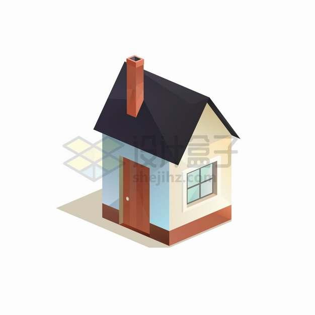 2.5D风格带烟囱的小房子png图片素材