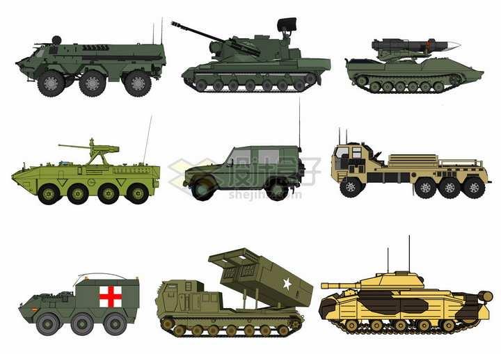 装甲输送车高射炮吉普车火箭发射车坦克等军事装备png图片素材