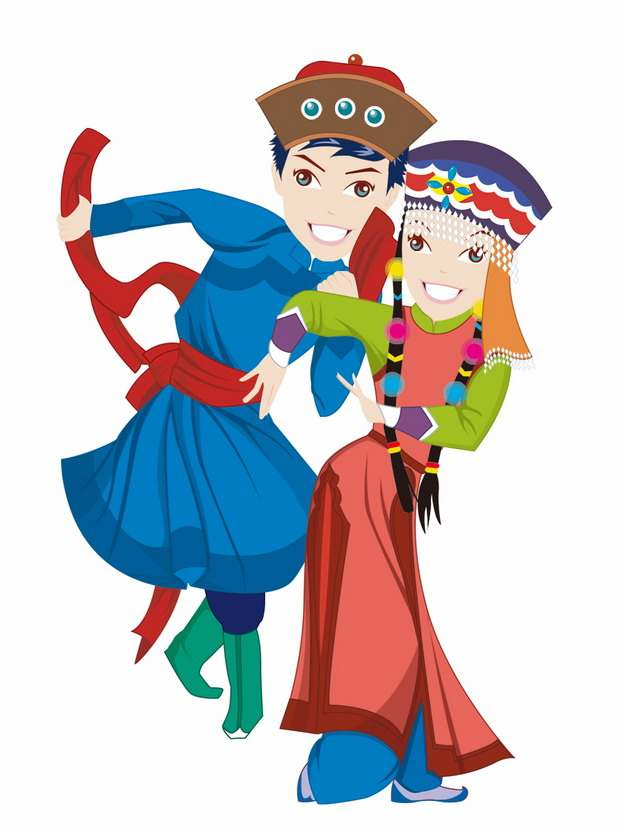 跳舞的卡通蒙古族传统节日那达慕png图片素材