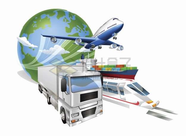 从地球上飞出的飞机卡车高铁和货轮物流快递行业png图片素材