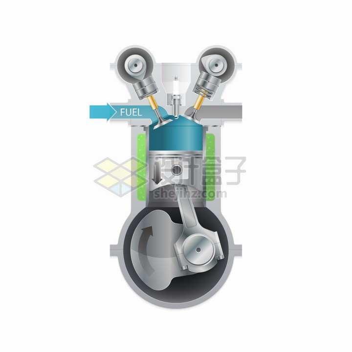 汽车发动机引擎汽缸结构工作示意图png图片素材
