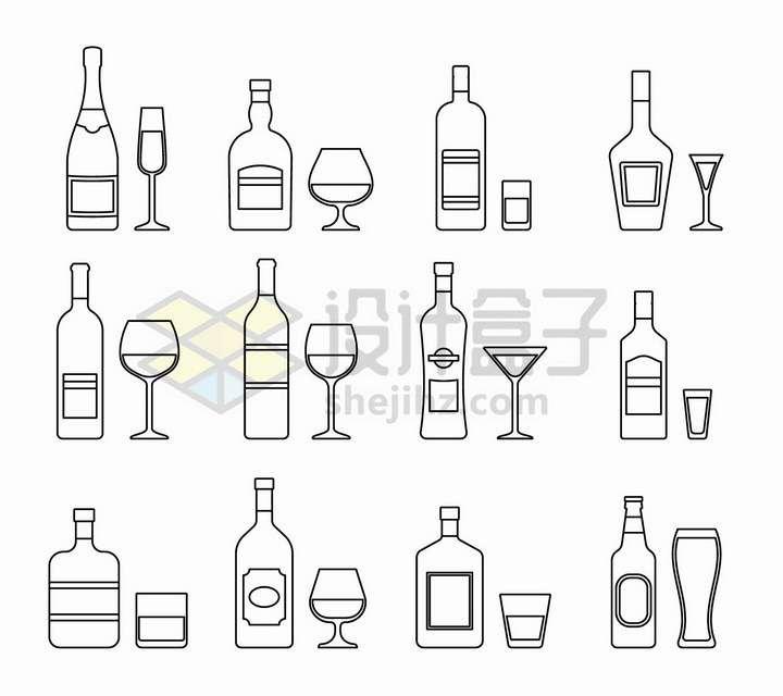 12款线条酒瓶和酒杯png图片免抠矢量素材