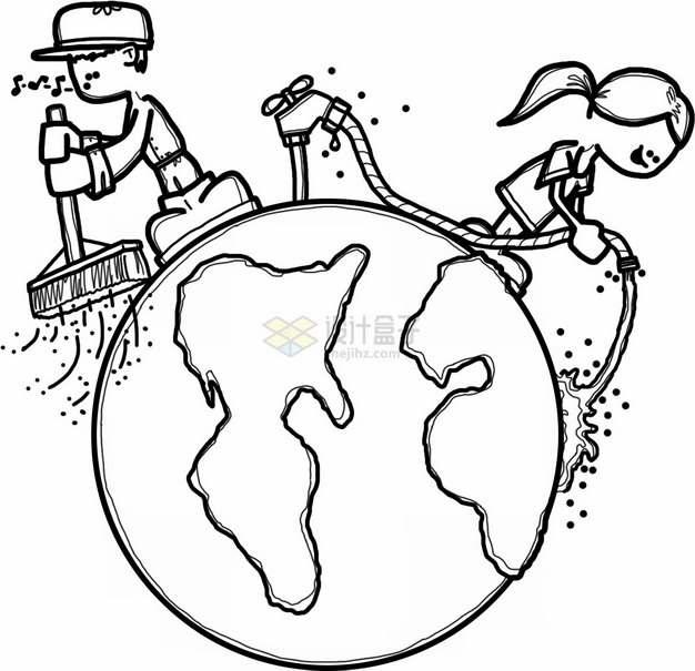黑色线条地球和打扫卫生浇水环境保护主题插画png图片素材