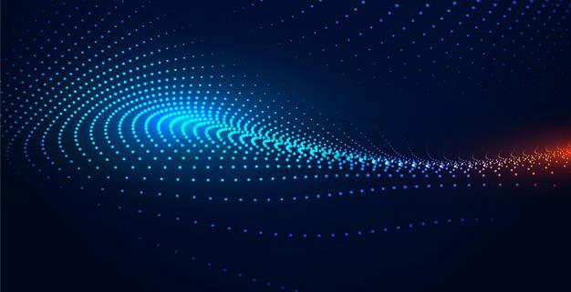 蓝色粒子量子波动抽象黑色背景图8176402png图片素材