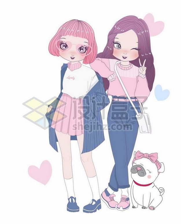 2个手绘卡通少女好朋友好闺蜜png图片素材