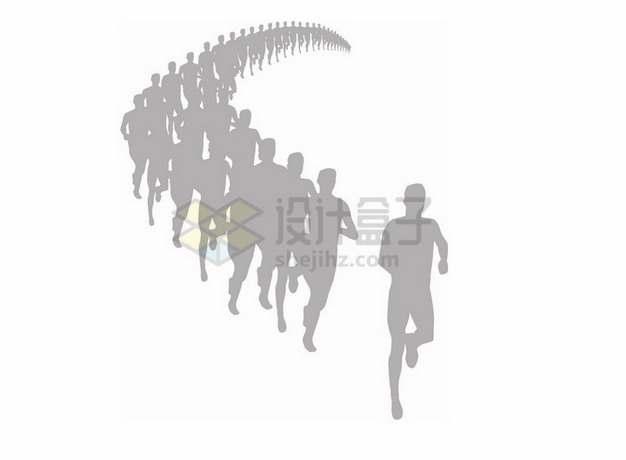 奔跑的人群跑步人物剪影png图片素材