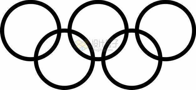 黑色的奥运五环奥运会标志logo png图片素材