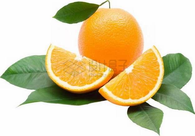 带叶子切开的橙子永兴冰糖橙png图片素材