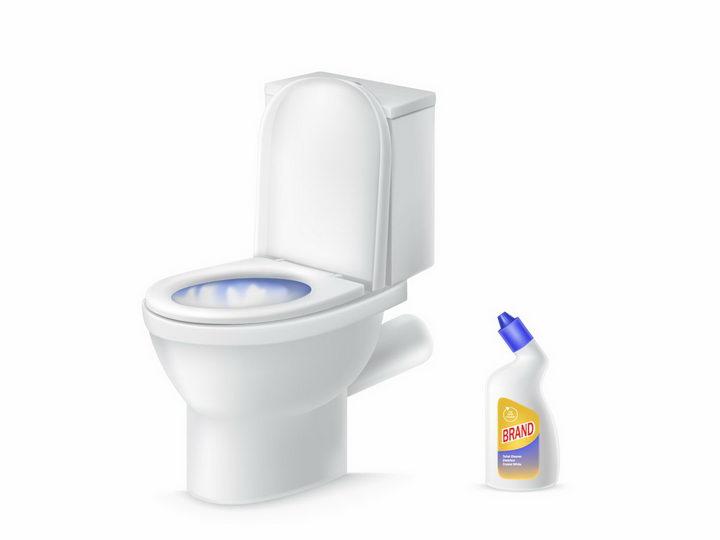 抽水马桶和洁厕灵厕所卫生png图片免抠矢量素材 生活素材-第1张